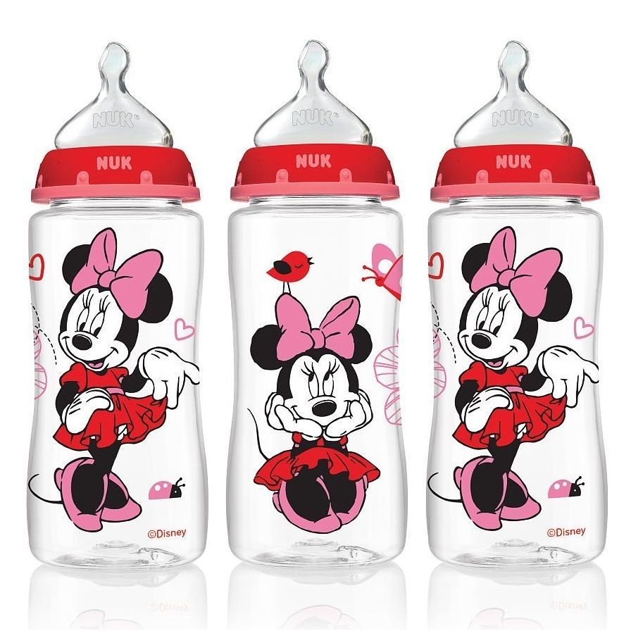 Nuk Disney Minnie Mouse Pack Of 3 10 Ounce Medium Flow Orthodontic Tommee Tippee Ctn Air Soother 6 18m Isi 2 Blue Red Bottles Orth Btl 10oz 3pk Medflow Clear Size 91 Oz