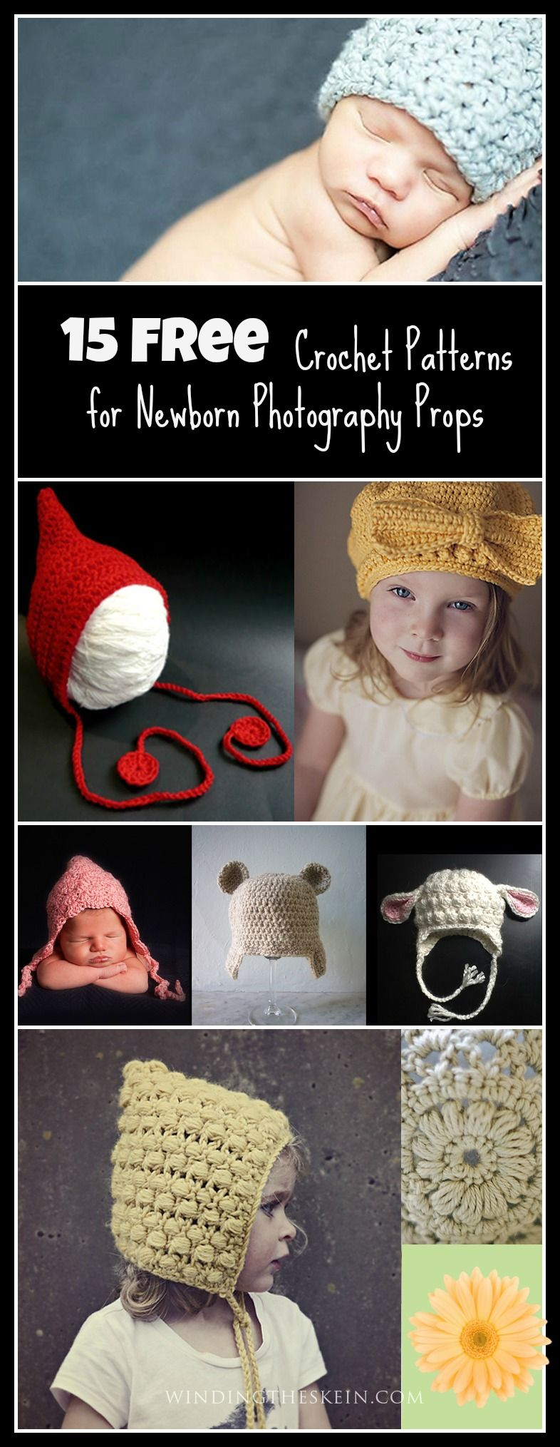 2e3a2d2a1 15 Free Crochet Patterns for Newborn Photography Props. These are some of  the cutest free