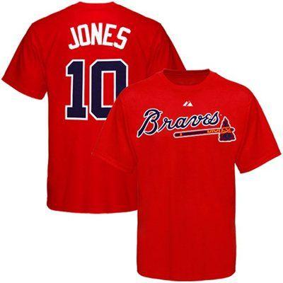 sale retailer 9248f 38c73 Majestic Atlanta Braves #10 Chipper Jones Youth Red Player T ...
