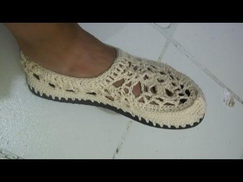 Tutorial Sandalias Crochet o Ganchillo Mary Jane Slippers (1 de 2 ...