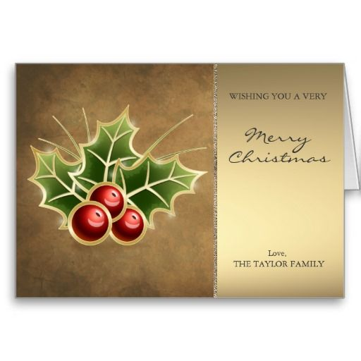 Shining Holly Berry Christmas design Card