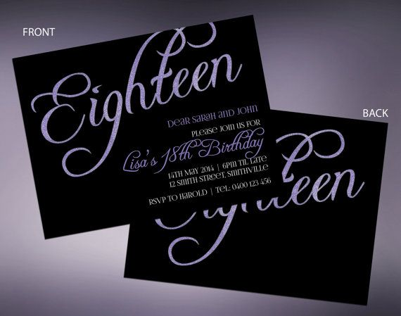 18th Sparkle Birthday Invitations With Guest By MaxRileyDesigns
