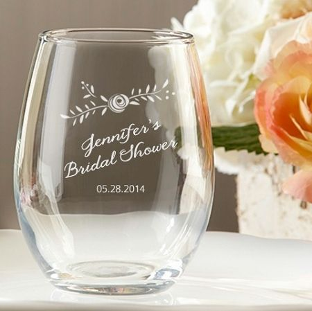 Rustic Flower Personalized Stemless Wine Glass 9 Oz Wedding