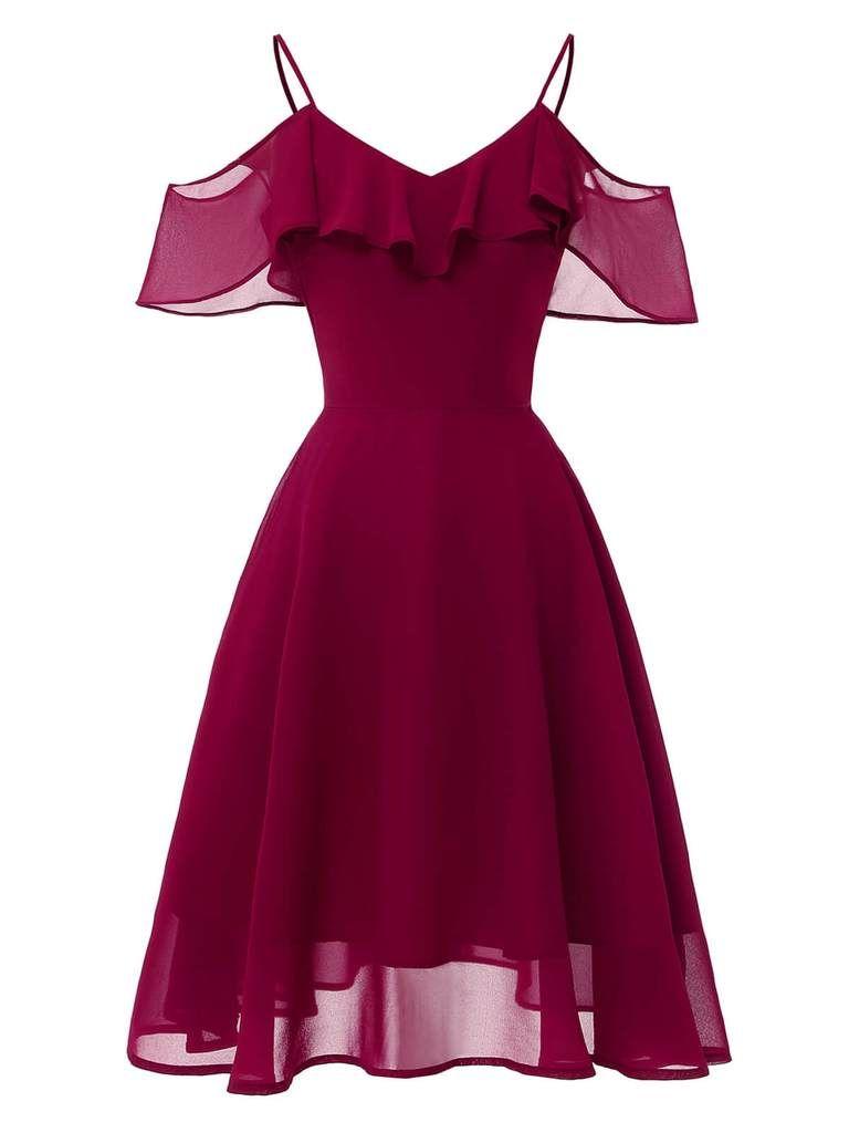 1950s Lace Cold Shoulder Ruffle Dress Womens Vintage Dresses Spaghetti Strap Prom Dress Pretty Dresses [ 1024 x 768 Pixel ]