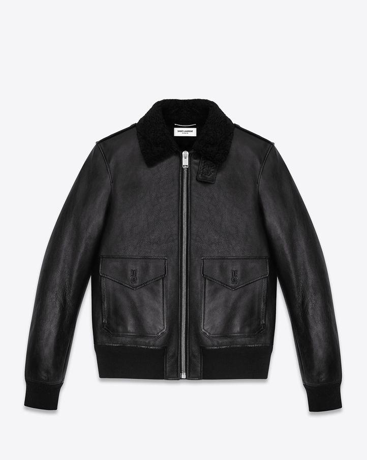 531c36c5566 Saint Laurent Classic Flight Jacket In Black Leather | ysl.com | The ...