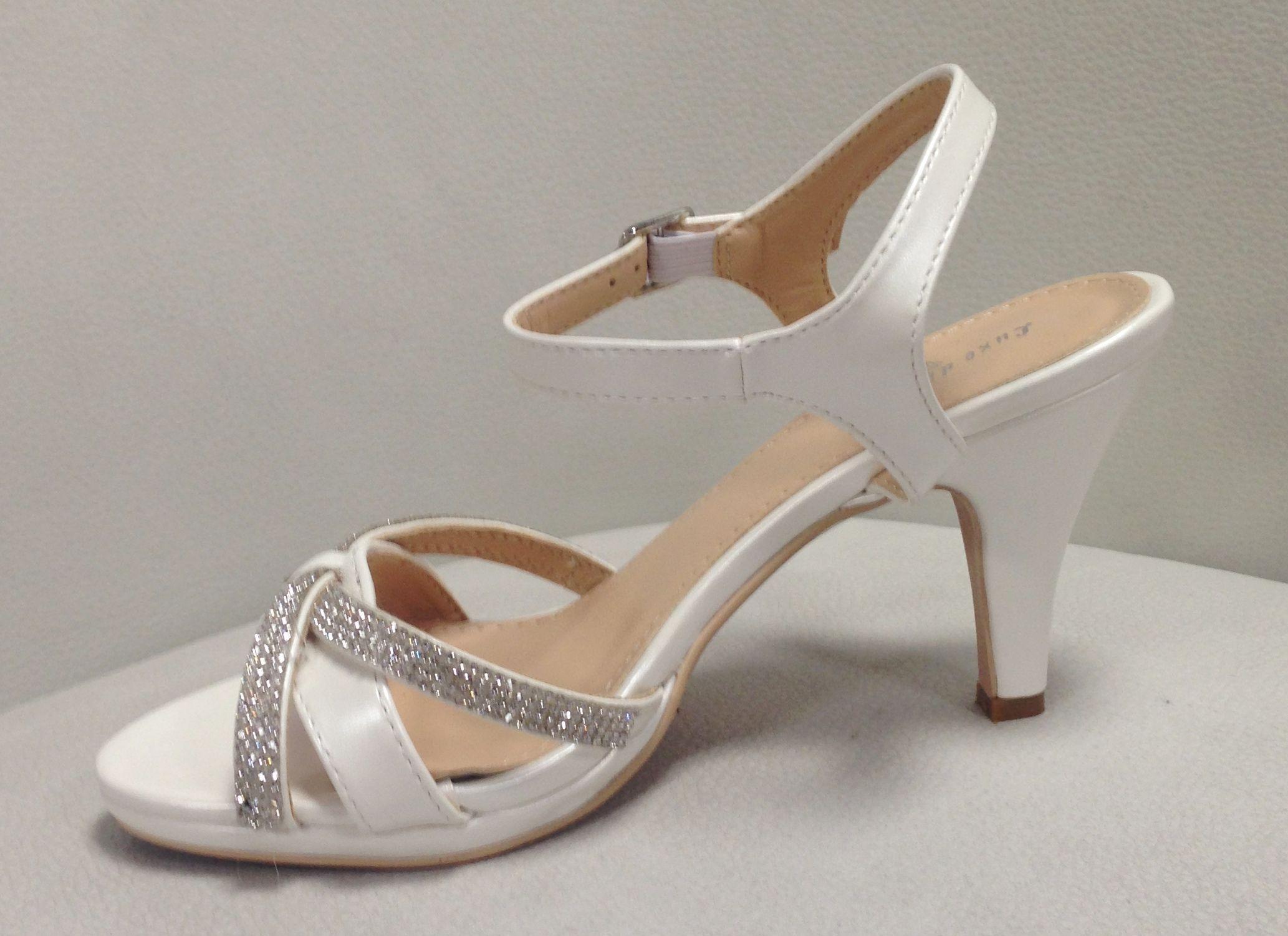 Sandale mariée blanche à bride et strass, talon 6cm avec