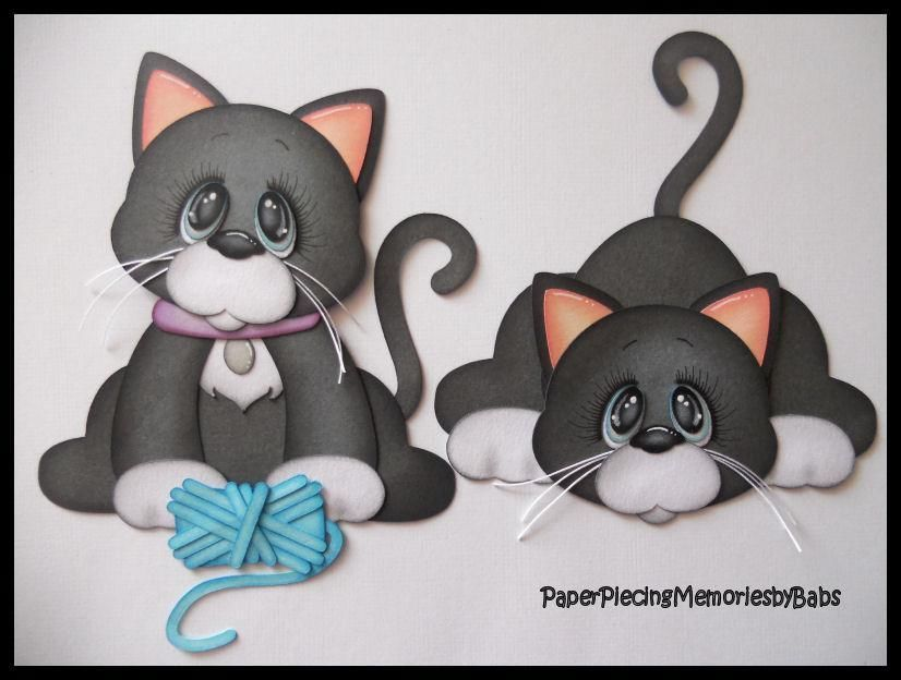 Premade Paper Pieced Kitten Set For Scrapbook Pages By