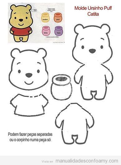 Molde Winnie Pooh   mall rita fina djur   Pinterest   Filz, Basteln ...