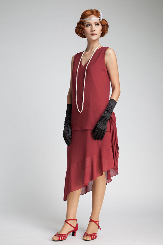 59bdacadf2a Maroon 1920s flapper dress with asymmetrical skirt