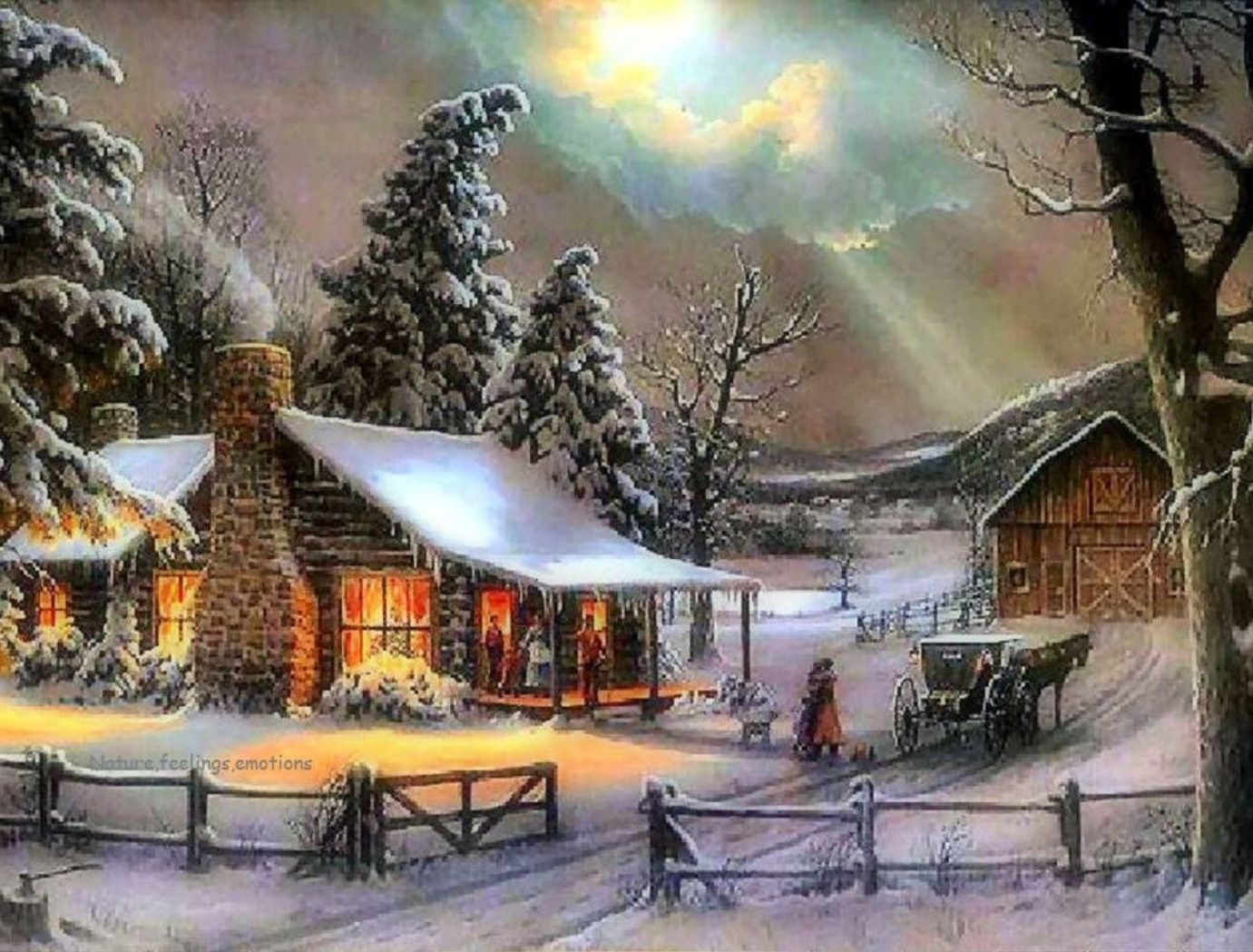 Snowy Cabin Winter Scenes Christmas Scenes Christmas Paintings