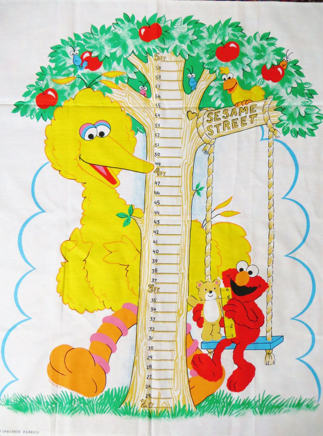 Sesame Street Fabric Panel, Child\'s Growth Chart, to Sew a Wall ...