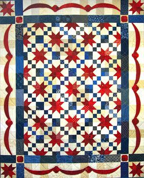 """Stars and Stripes quilt kit, 72 x 88"""", original pattern by Colette Belt for Quilter's Paradise"""