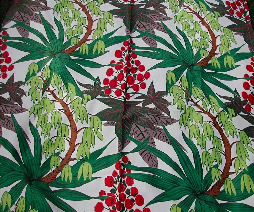 Vintage MCM Retro Tropical Pattern Print Barkcloth Fabric-Foliage Berries Deco