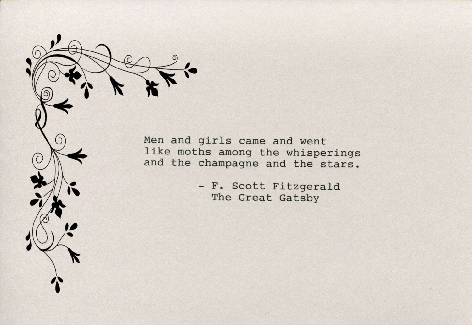 F. Scott Fitzgerald Quote Made on Typewriter The Great Gatsby Art Quote  Wall Art -Men and girls came and went like moths among the