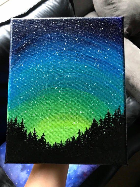 Northern Lights Galaxy Painting, Galaxy Forest Art, 8x10 inch Canvas, Galaxy Art, Northern Li...