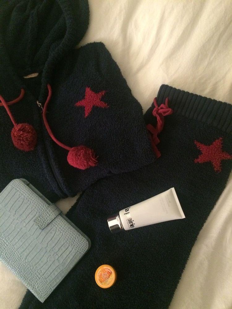 Night in essentials:La Prarie cellular hand cream, iPad, Smythson iPad cover, The Body Shop honey lip balm, Esprit fleece pyjamas