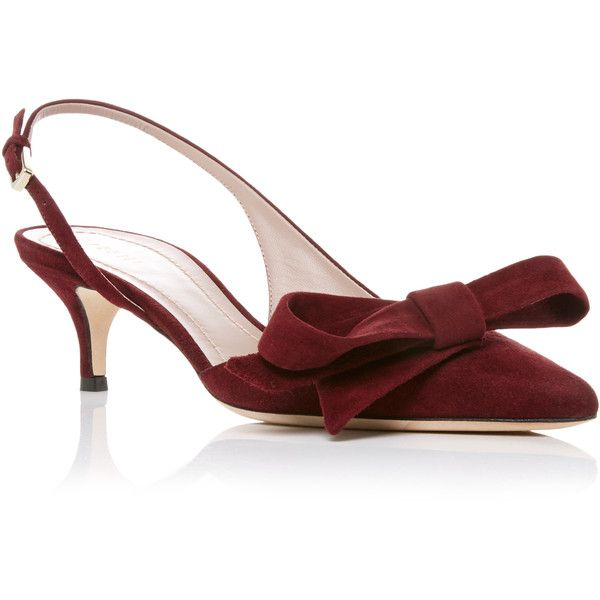 Aerin Sling Back Pump With Bow 680 Aud Liked On Polyvore Featuring Shoes Pumps Burgundy Burgundy Pumps Slingback Pum Kitten Heel Shoes Heels Prom Shoes