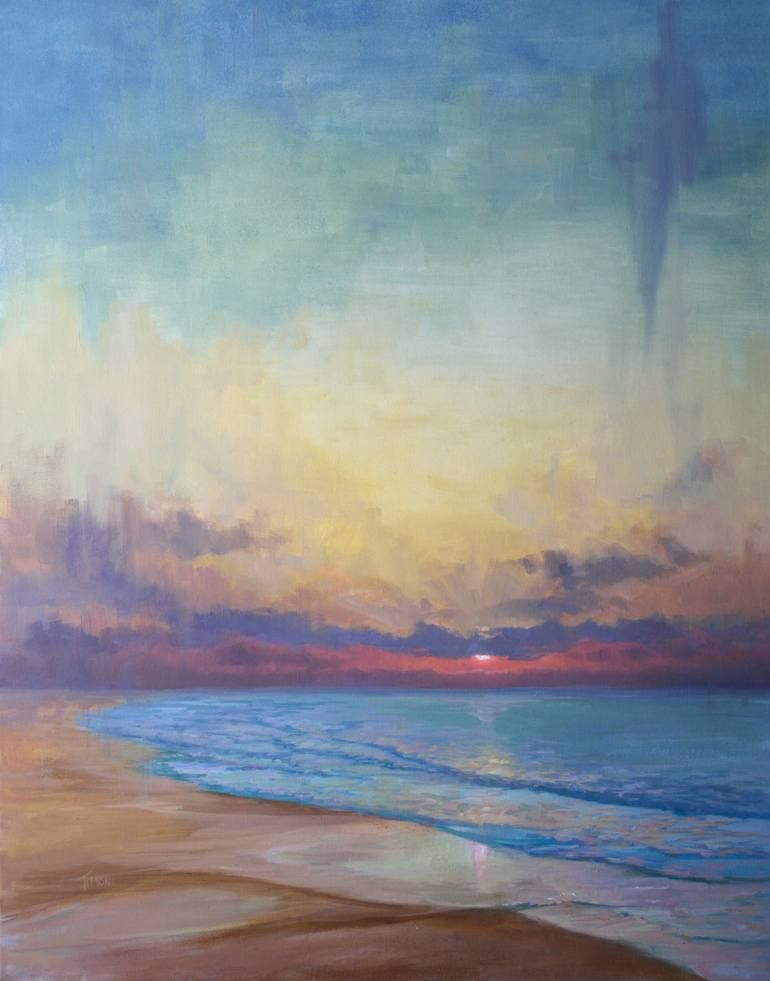 Original Seascape Painting by Timon Sloane | Abstract Art on Canvas | Calm Closure