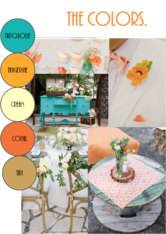 Spring wedding, turquoise wedding, coral wedding - The Colors ...