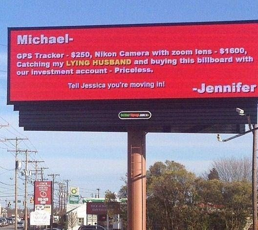 cheating spouse billboard