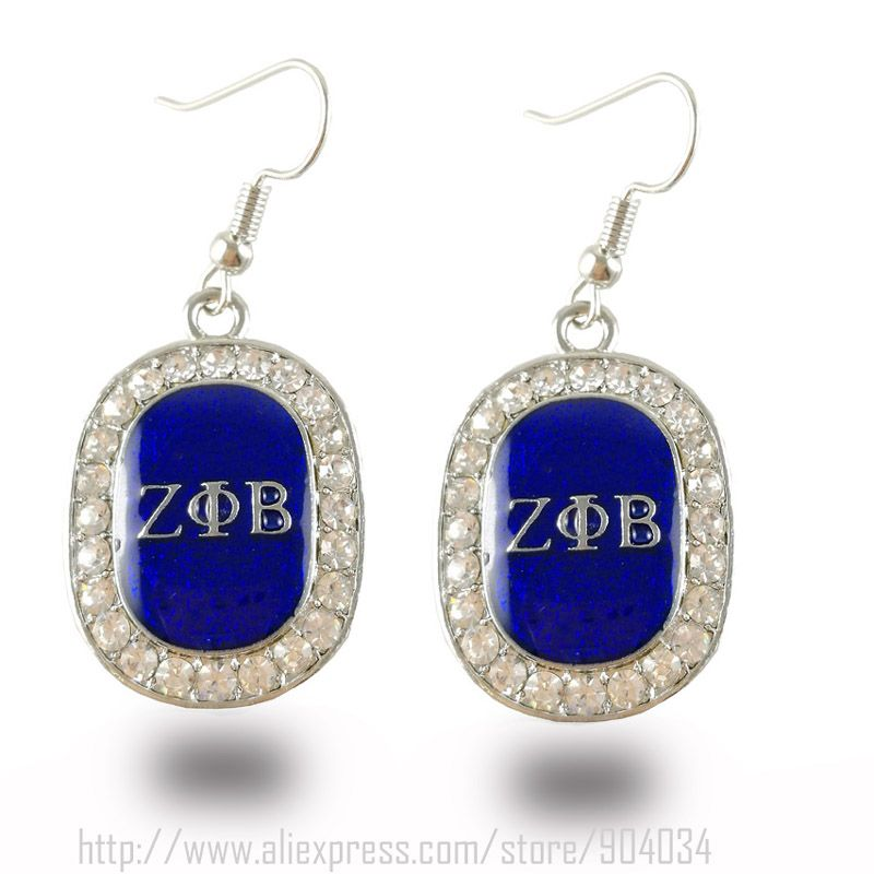 1pair  Free Shipping New Zeta Phi Beta Bling  Sorority earrings Jewelry  ZPB oval shape  fashion earring Jewelry