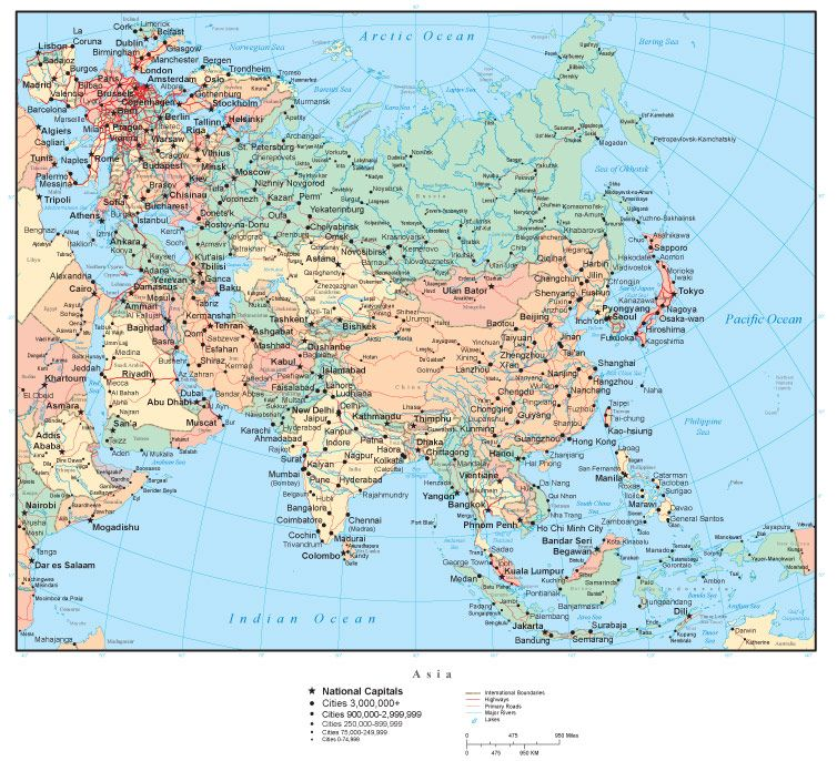 Asia map with countries capitals cities roads and water features asia map with countries capitals cities roads and water features gumiabroncs Gallery