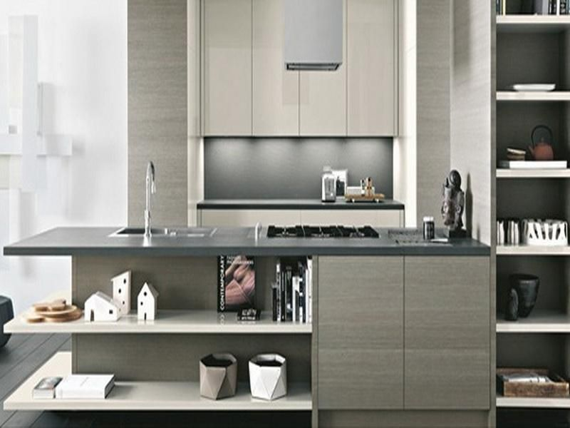 2012 chic kitchen designs from italian company cesar light modern italian kitchen with stainless steel work surface and bookshelf for kitchen stuff