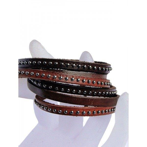 Bracelet cuir marron TURENE saheline