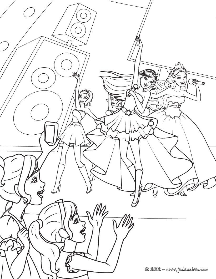 Coloriage de Barbie princesse et Barbie popstar pendant un de leurs concert. Un beau coloriage inédit pour toutes les petites filles.