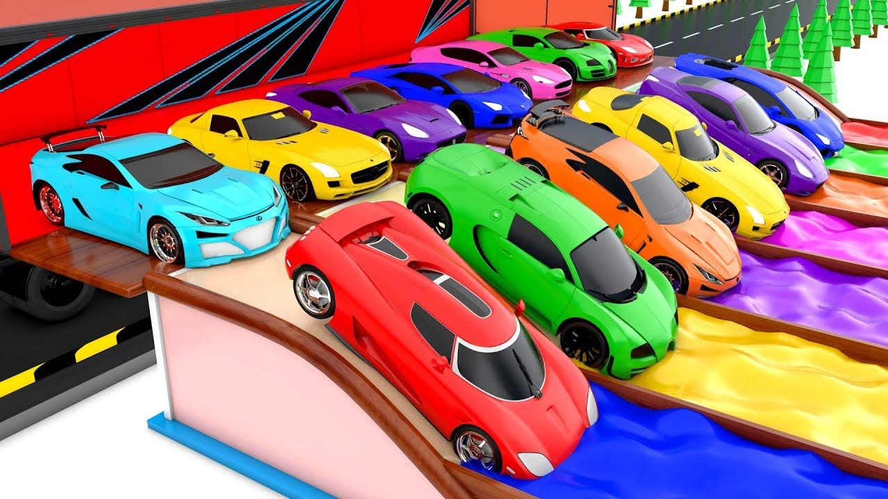 Colors For Children To Learning With Super Cars Color