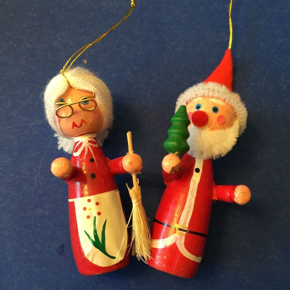 Mr and mrs claus ornaments - Vtg Wooden Christmas Ornaments Lot Of 3 Mr Mrs Santa Claus Elf On Toadstool