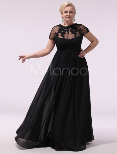 Lace Applique Illusion Black Wedding Wedding Dress Evening