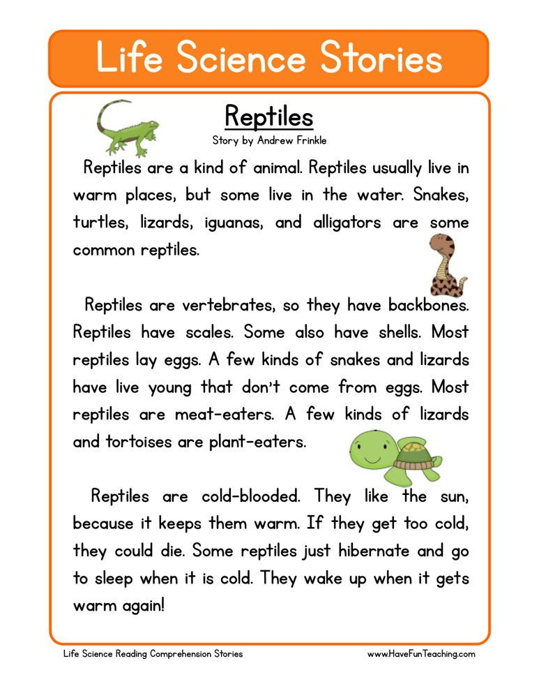 This Reading Comprehension Worksheet - Reptiles is for teaching