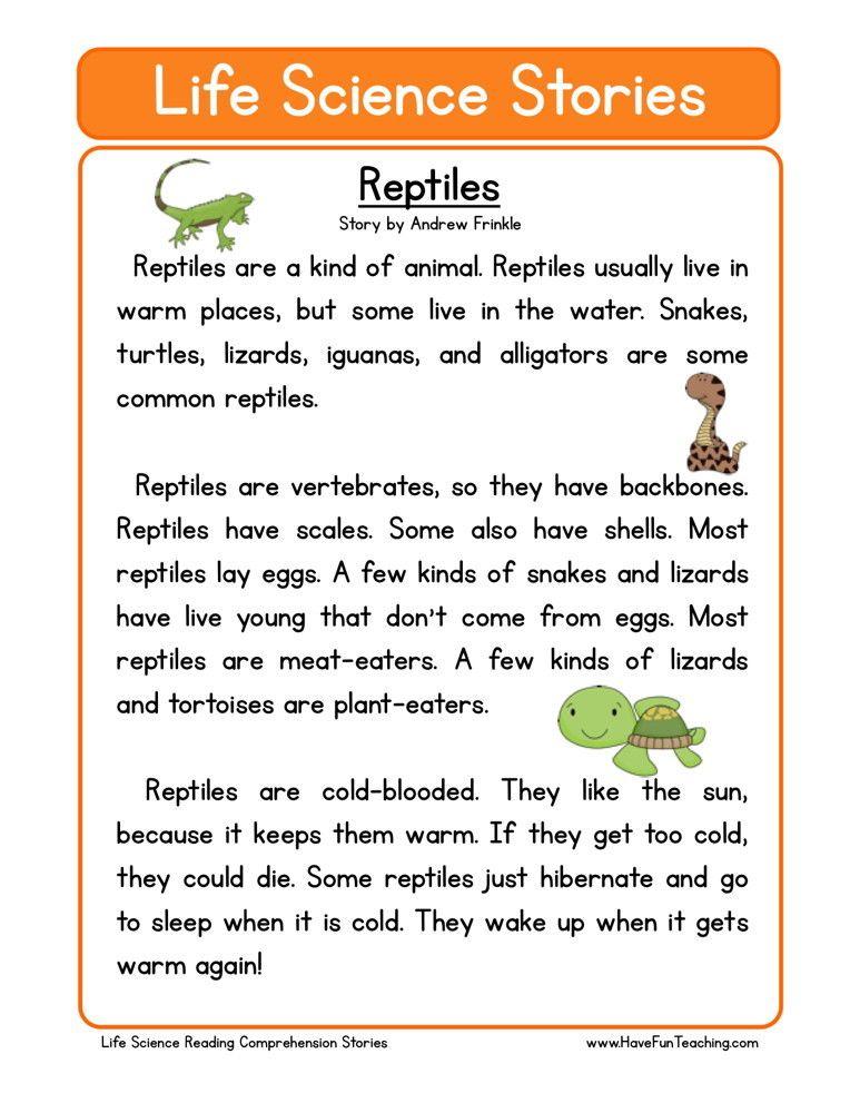Reading Prehension Worksheet Reptiles