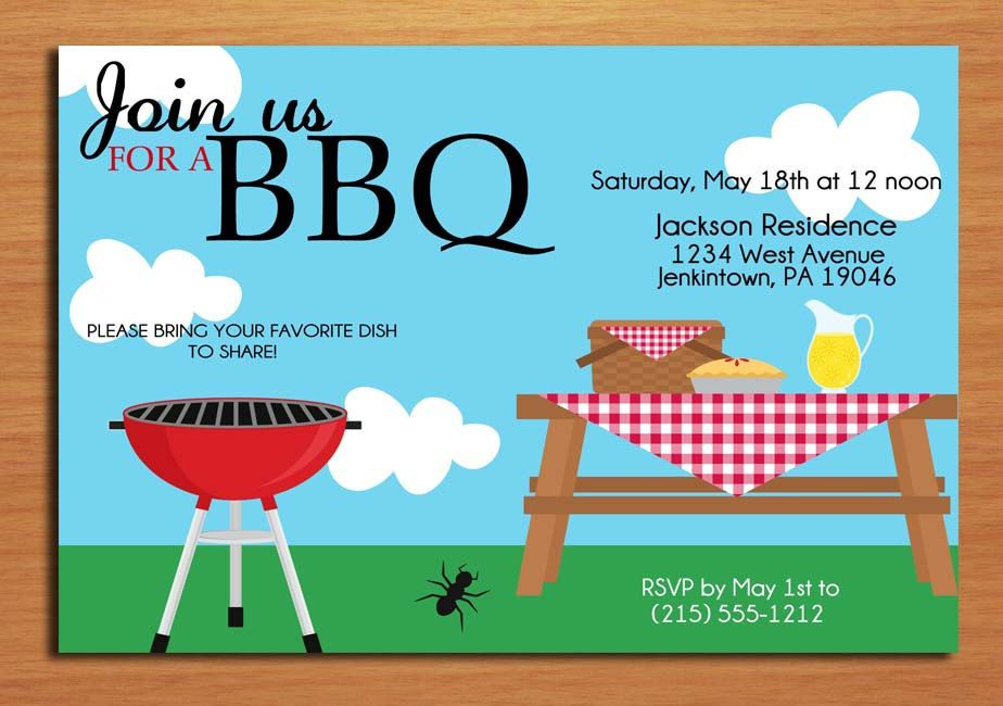 Picnic Table Barbecue Bbq Invitation Firepit Party