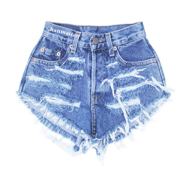 """ALL SIZES """"RAGGED"""" Vintage Levi high-waisted denim shorts dark blue... ($25) ❤ liked on Polyvore featuring shorts, bottoms, pants, distressed jean shorts, vintage shorts, distressed shorts, ripped shorts and destroyed shorts"""