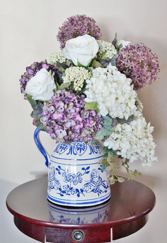 Flower Arrangement, Home Decor, Lilac, Roses, Allium, Hydrangeas, Purple And