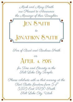 Lds Temple Wedding Invitation Wording Google Search