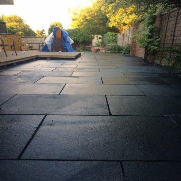 Black Limestone 600x900 Calibrated Sawn Edge In 2020 Garden Paving