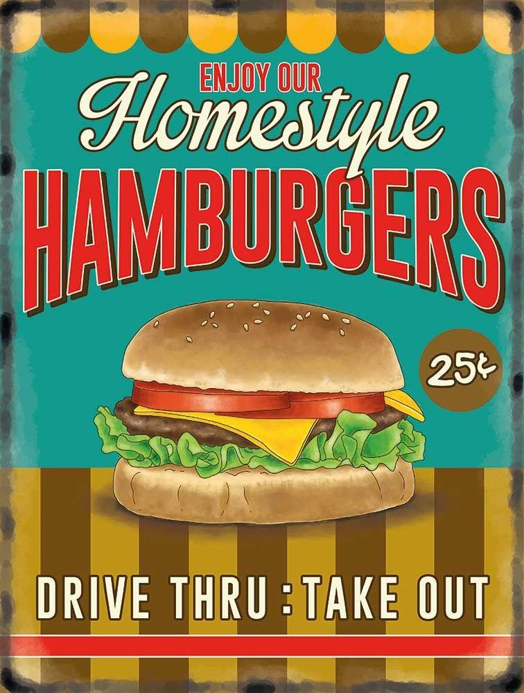 Hamburger Retro Diner Style Metal Wall Sign 10086
