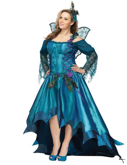 pfauen fee xl damenkost m deluxe elfe blau karneval pinterest pfau fee und blau. Black Bedroom Furniture Sets. Home Design Ideas