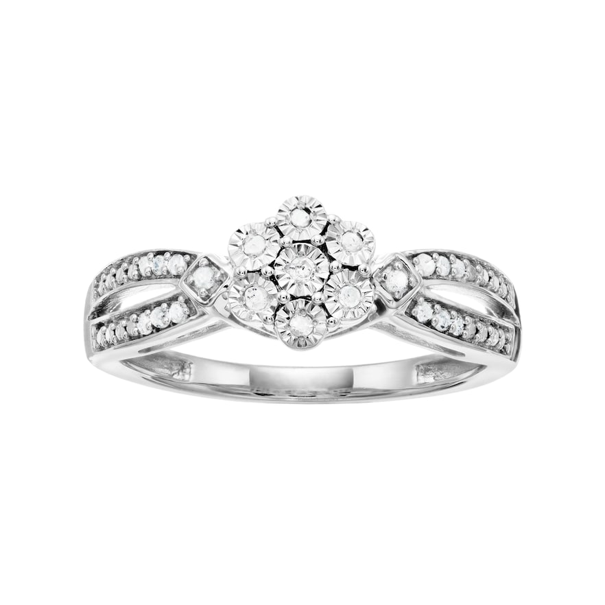 Sterling Silver 1 10 Carat T W Diamond Cluster Ring Diamond Cluster Ring Cluster Ring Right Hand Rings