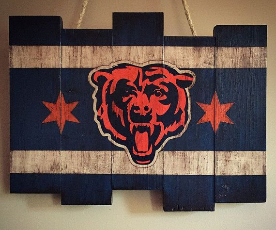 Chicago Bears Wooden Stained Flag By Diamondeyeschicago On Etsy Chicago Bears Man Cave Bear Crafts Bear Decor