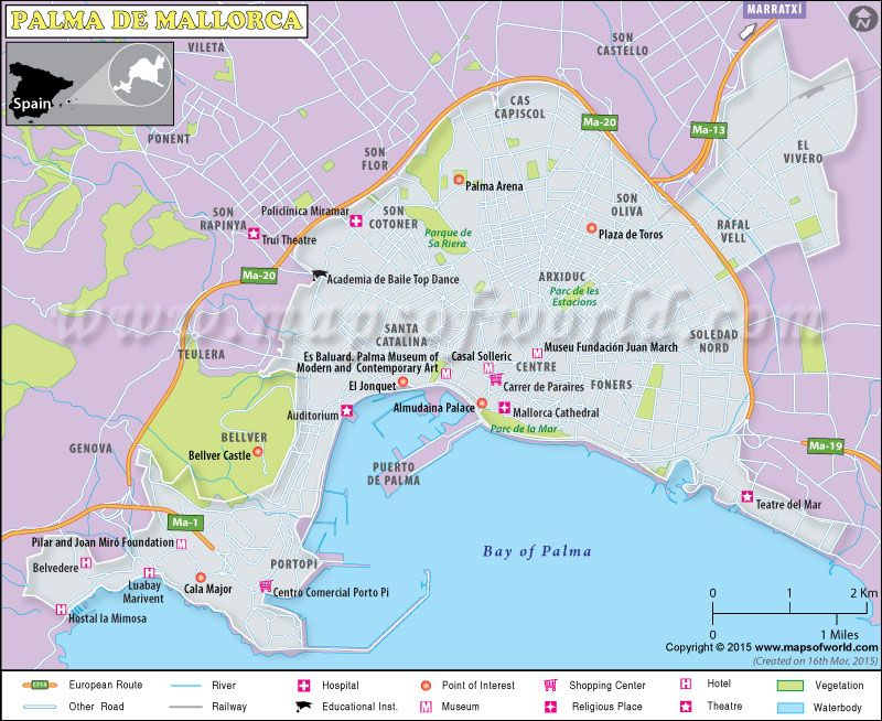Map Of Palma De Mallorca Spain World Cities And Their Maps