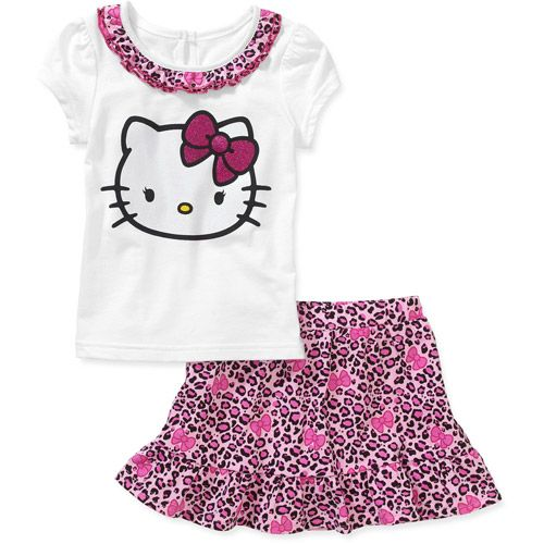 Walmart Baby Girl Clothes Amusing Hello Kitty Toddler Girl Tee And Skirt Set Baby Clothing  Walmart Decorating Design