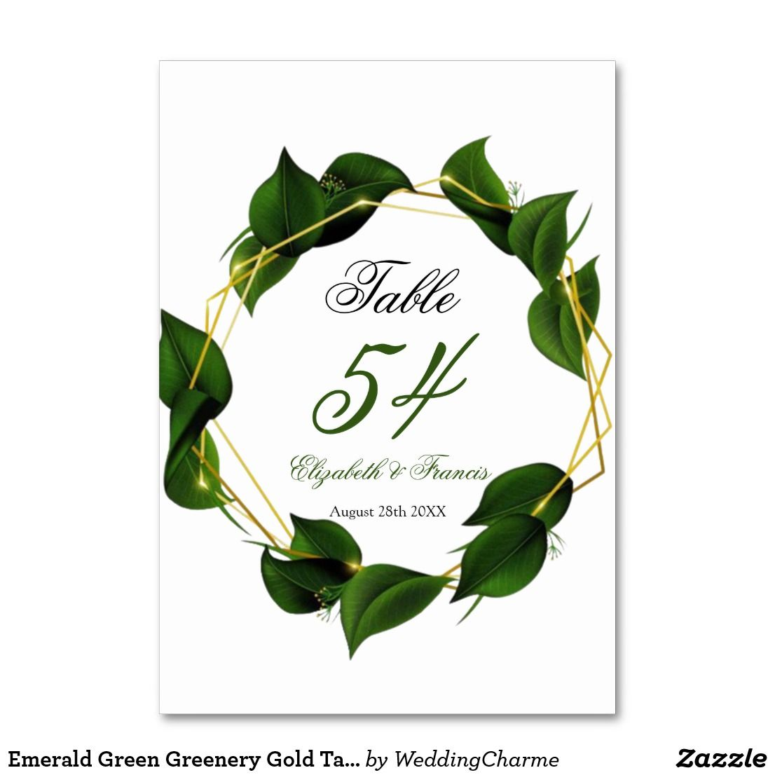 Emerald green greenery gold table numbers card table
