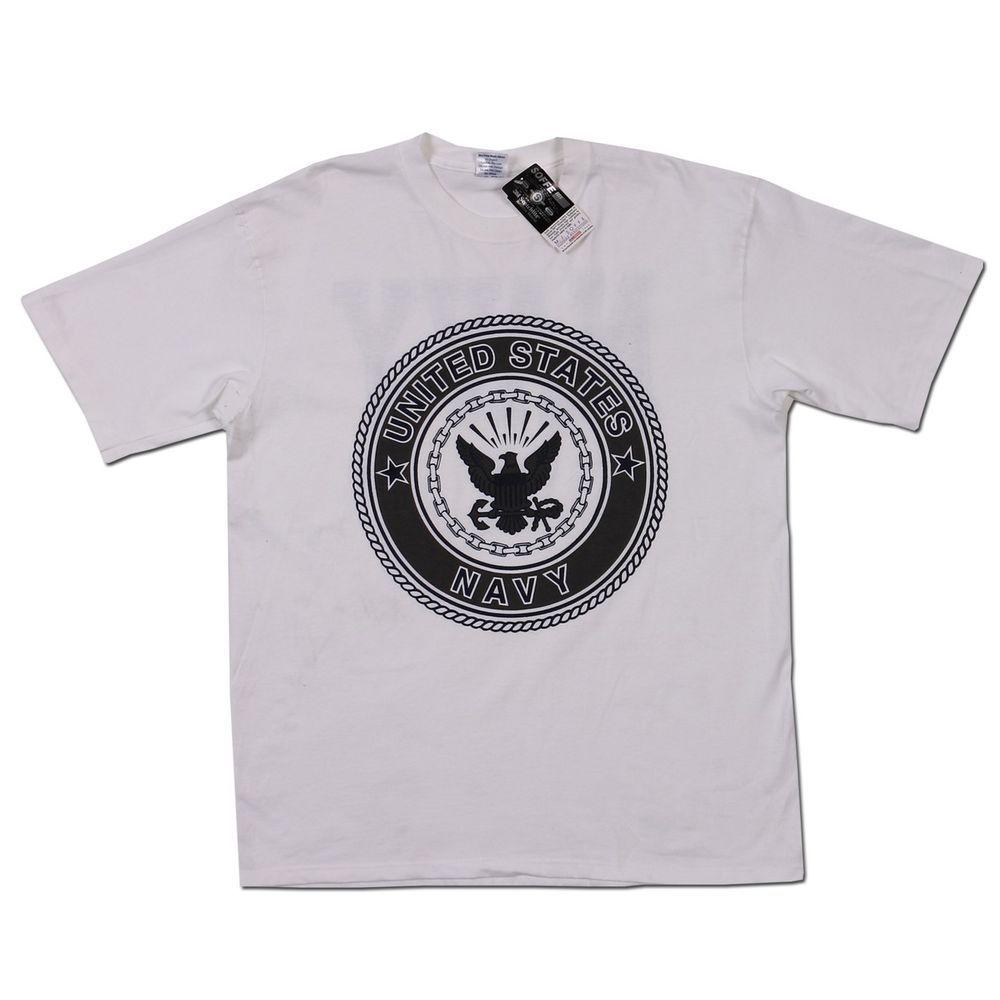 US United States Navy USN Logo Tee White Short Sleeve T