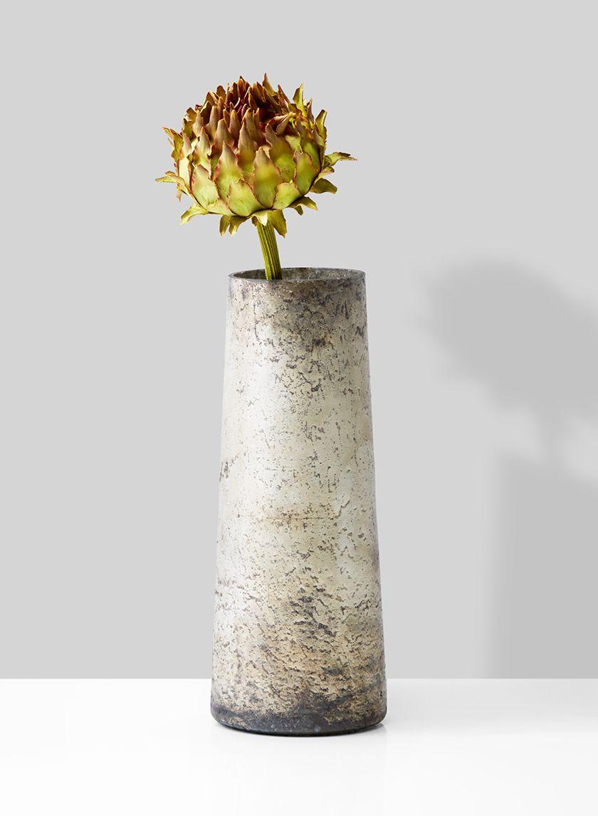 7 3 4in Old Pewter Tapered Glass Vase Vase Glass Vases