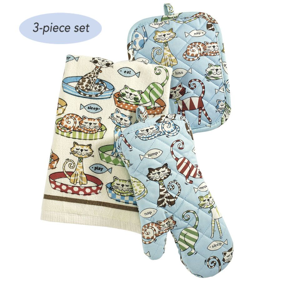 Three Piece Cat Kitchen Set - Gifts, Clothing, Jewelry, Home Decor ...