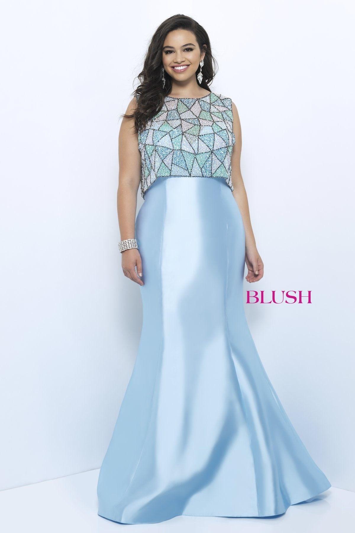 Blush too plus w sky bluemulti sweetheart mermaid prom dress